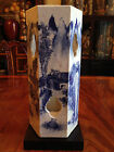 Chinese Qing Dynasty Blue and White Hexagon Porcelain Hat Stand Vase,