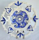 VTG Alcobaca Portugal Blue White Reticulated Plate 435 Wall Hanging Serving Dish