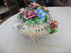 Vtg. Capodimonte Footed Ooctogon Floral Centerpiece With Covered Flowers Cover