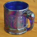 Imperial Cobalt Blue Carnival Glass Nursery Rhyme Cup with Elephant Handle