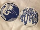 Nancy Getz Designer 2 Plates Blue and White Crane and Water Lilies Vandor Japan