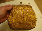 VINTAGE GOLD BEADED BAG W/POCKETAND CARRY CHAIN