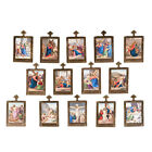 French Antique Limoges Porcelain Plaques Depicting the 14 station of the cross.