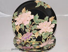 Fitz & Floyd * Cloisonne Peony Black * 3 Accent Salad Plates * Mint Condition!