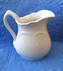 ANTIQUE WHITE IRONSTONE PITCHER W/EMBOSSED WHEAT PATTERN-UNKNOWN MAKER 7