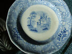 1850 DAVENPORT Staffordshire English China transfer BLUE Friberg scene CUP PLATE