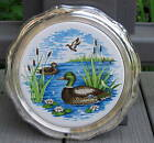 VINTAGE ROGERS SILVER PLATE & CERAMIC DUCK TRIVET W BOX  CAN BE HUNG