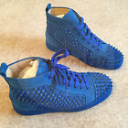 Authentic Christian Louboutin Louis Flat Spikes Suede Blue Saphire Sneakers BNIB