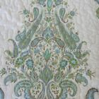 NICOLE MILLER Paisley Medallion 3PC KING QUILT SHAM SET Aqua Teal Blue Green