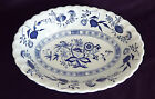 Blue Nordic Onion Classic White English Ironstone 9 inch Oval Serving Bowl