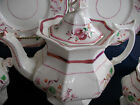 PINK LUSTRE-1840's-ENGLAND-TEA POT- MULTI SIDED GOTHIC!! FLORAL!! EXCELLENT!!