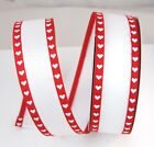 White Red Satin Heart Wire-Edged Ribbon 1 1/2