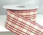 Wired Plaid Winter Red and White Plaid Ribbon 2 1/2