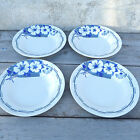 Antique  French 1930 blue and off white art deco pattern set of 4 soup plates