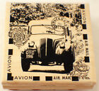 Stampington  Co The Car Avion Air Mail Stockholm Wood Rubber Stamp K5521