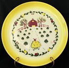Vtg Brock California Farmhouse Yellow Dinner Plate Barn and Hay Wagon