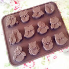 Cute Silicone Cookie Cake Muffin Chocolate Candy Soap Mould Baking Tray Owl Mold