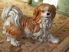 Vintage Large Heavy Pottery Spaniel Dog Statue Figurine 1 of 2 available pieces