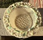 FINE BELLEEK IRISH PORCELAIN 4 STRAND ROUND FLORAL BASKET BOWL!  1980-85