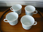 Set Lot 4 Vtg CORELLE Corning Ware BLUE HEATHER Flower Floral Coffee Cups Mugs