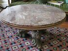 Vintage Round Redish  Marble Top Coffee Table Large   Figure Heads