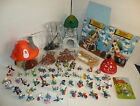 Large Lot of Smurfs Figures - Mushroom House Windmill Vintage PEYO Schleich Box