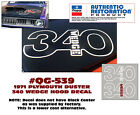Qg-539 1971 Plymouth Duster - 340 Wedge Hood Decal - Outline - Aftermarket