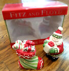 Fitz and Floyd STOCKING STUFFERS Santa and Stocking Salt & Pepper Shakers (NIB)