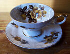 VTG.RELCO CREATION HANDPAINTED White FLOWERS LUSTER WARE CUP & SAUCER - JAPAN