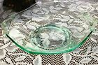 Green Depression Glass Lancaster Octagon Bowl With Scrolled Handles - 9