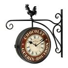 Adeco Vintage Inspired Double Sided Decorative Rooster Round Iron Wall Clock