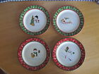 Longaberger 2004 Holiday Snowman Set of 4 Bluster Snack Plates