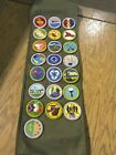 Vintage cub eagle Boy Scout SASH 26 Merit Badge With Complete Pins See Pics CFJ