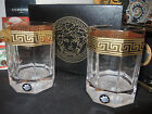 VERSACE MEDUSA D'or Gold Greek Key Whiskey Glass SET OF 2 Rosenthal NEW SALE $
