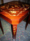 ITALIAN Vintage Inlaid Wood Marquetry REUGE MUSIC BOX Jewelry Table GODFATHER
