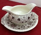 MASON'S Bow Bells Brown Transferware Gravy Boat with Underplate. England