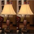 Old World Table Lamp Set Of 2 Lamps Antique Style Reddish Brown 3 Way Switc