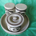 Collectible Stoneware-Clay & Brown Salt & Pepper Shakers-Sugar Bowl-Pottery Set