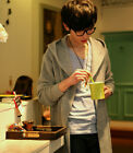 New Fashion Men's Casual Cardigans Long Jackets Korean Style Hooded Sweaters