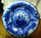 ANTIQUE WOOD & SON ENGLAND ROYAL SEMI-PORCELAIN FLOW BLUE PLATE SHAKESPEARE