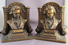 3D RARE ANTIQUE PAIR 1925c B&H BRADLEY & HUBBARD BEETHOVEN BRONZE BOOK ENDS