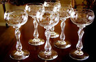 6 St. Louis Moser Rhine Wine Etched Cut Crystal Double Teardrop Stem Goblets