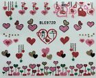 Nail Art 3D Glitter Decal Stickers Hearts Pink Red Gold Valentines Day BLE972D