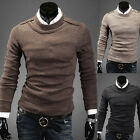 Mens Button Knitted Jumper Solid Crew Neck Long Sleeve Pullover Knitwear Sweater
