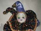 MARDI GRAS DOLL PORCELAIN PURPLE JESTER CLOWN - New Orleans - NEW LARGE 9