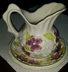 Antique Bone China White Floral Hand Painted Pitcher Saucer Set Beautiful