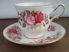 Queenanne England Bone China Tea Cup and Saucer Pink Red Roses Gold Trim Vintage
