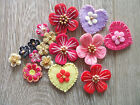 24pcs Felt Flower Heart Appliques Sew Cardmaking Craft 25mm Pink Muit color