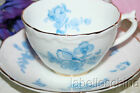 Coalport England Tea Cup and Saucer HPT Blue Roses Molded Gold Gilt 9285