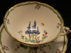 TUSCAN CHINA TEA CUP AND SAUCER HAND PAINTED WIDE MOUTH FORAL AND BUTTERFLY